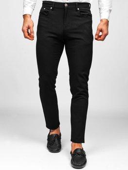 Czarne spodnie materiałowe chinosy męskie Denley 0004