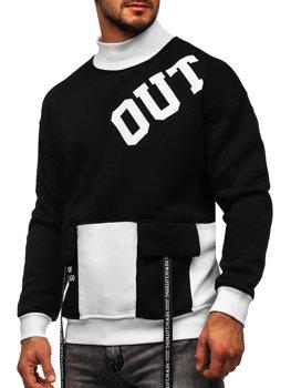 Czarno-biała z nadrukiem bluza męska bez kaptura Denley 0001