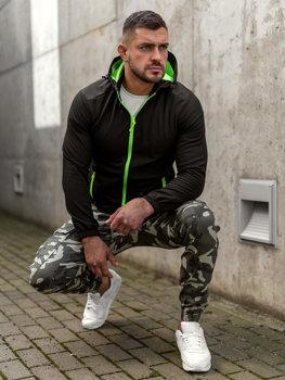 Czarno-zielona kurtka męska przejściowa softshell Denley HH017