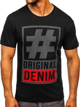 Czarny T-shirt męski z nadrukiem Bolf 008