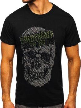 Czarny T-shirt męski z nadrukiem Denley KS2108