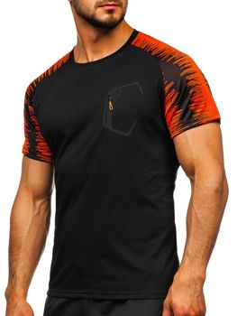 Czarny T-shirt treningowy męski z nadrukiem Denley KS2072