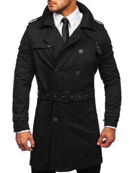 Czarny dwurzędowy płaszcz męski prochowiec z wysokim kołnierzem i paskiem Denley 5569
