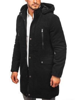 Czarny płaszcz męski zimowy z kapturem Denley 88873