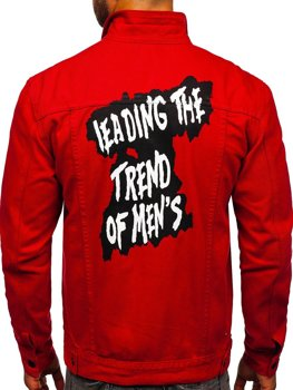 Czerwona jeansowa kurtka męska Denley XSF78204