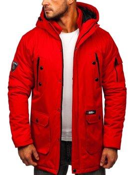 Czerwona kurtka męska zimowa Denley HY827