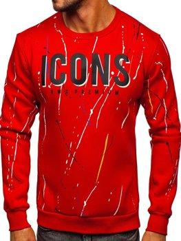 Czerwona z nadrukiem bluza męska bez kaptura Denley 146058