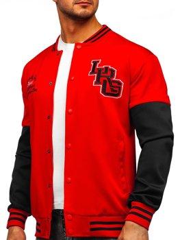 Czerwona z nadrukiem bluza męska cienka kurtka bejsbolówka Denley B10158