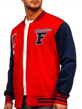 Czerwona z nadrukiem bluza męska kurtka cienka kurtka bejsbolówka Denley B10160