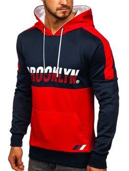 Czerwona z nadrukiem bluza męska z kapturem Denley DD20127