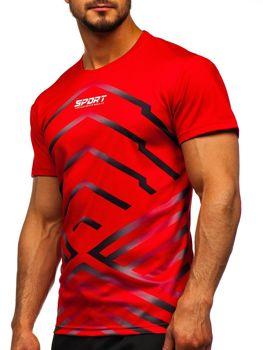 Czerwony T-shirt treningowy męski z nadrukiem Denley KS2063