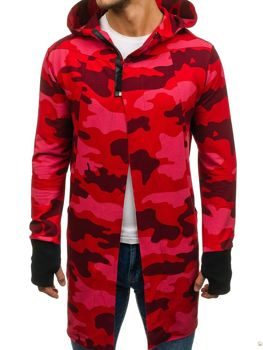Długa bluza męska z kapturem rozpinana moro-czerwona Denley 0932