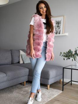 Futrzana kamizelka damska różowa Denley MF201