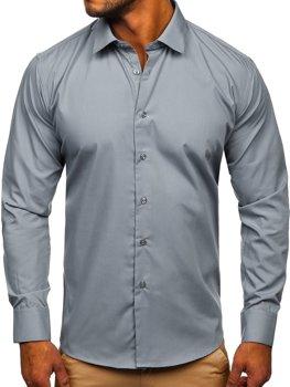 Grafitowa koszula męska elegancka z długim rękawem Denley SM16