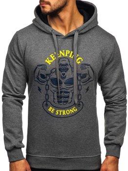 Grafitowa z nadrukiem bluza męska z kapturem Denley Y10068