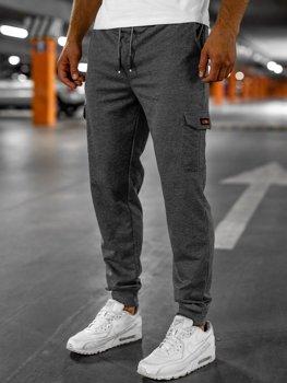 Grafitowe bojówki spodnie męskie dresowe Denley JX323