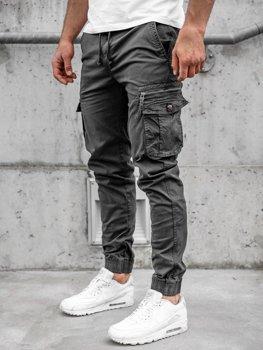 Grafitowe spodnie joggery bojówki męskie Denley CT6702S0