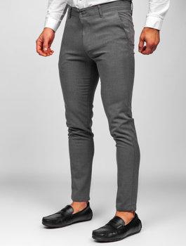 Grafitowe spodnie materiałowe chinosy męskie Denley 0016