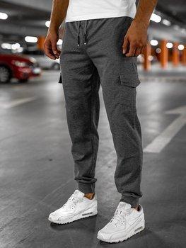 Grafitowe spodnie męskie dresowe Denley JX326