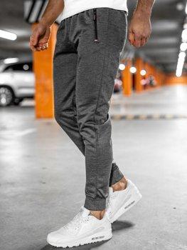 Grafitowe spodnie męskie dresowe Denley JX8201
