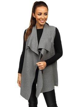 Grafitowy kardigan sweter damski bez rękawów Denley AL0220L