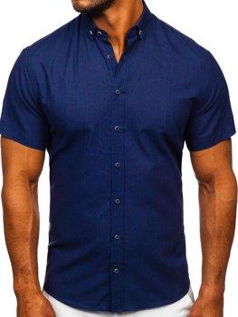 Granatowa bawełniana koszula męska z krótkim rękawem Bolf 20501
