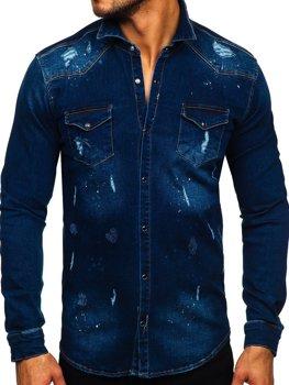 Granatowa koszula męska jeansowa z długim rękawem Denley R801