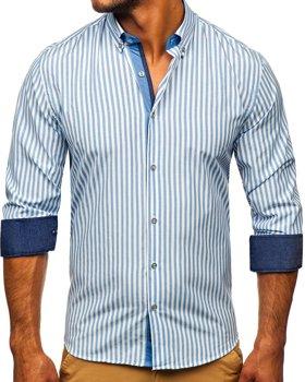 Granatowa koszula męska w paski z długim rękawem Bolf 20704