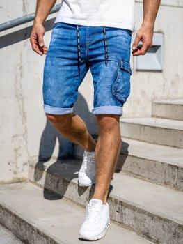 Granatowe jeansowe krótkie spodenki męskie bojówki Denley KR1206