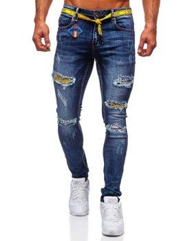 Granatowe jeansowe spodnie męskie slim fit Denley 80030W0