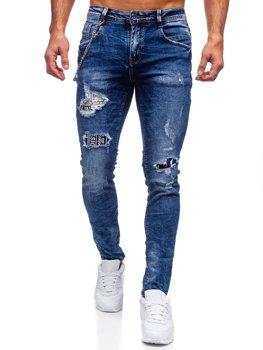 Granatowe jeansowe spodnie męskie slim fit Denley 85008S0