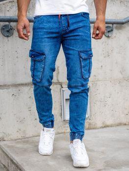 Granatowe spodnie jeansowe joggery bojówki męskie Denley HY689
