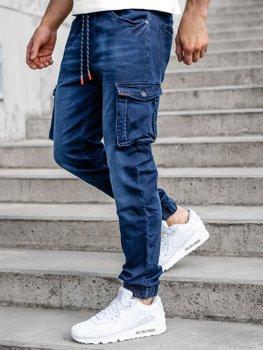 Granatowe spodnie jeansowe joggery bojówki męskie Denley R51001W0