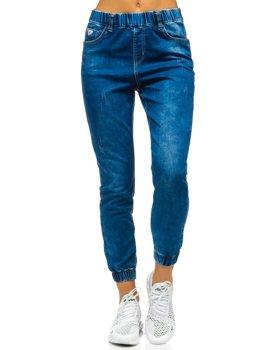 Granatowe spodnie jeansowe joggery damskie Denley SJ101