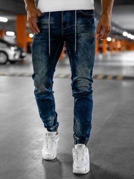Granatowe spodnie jeansowe joggery męskie Denley RT9892