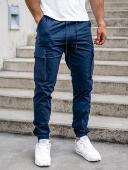 Granatowe spodnie joggery bojówki męskie Denley 701