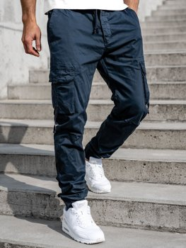 Granatowe spodnie joggery bojówki męskie Denley 8956