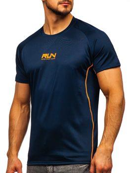 Granatowy T-shirt treningowy męski z nadrukiem Denley KS2101