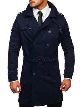 Granatowy dwurzędowy płaszcz męski prochowiec z wysokim kołnierzem i paskiem Denley 5569