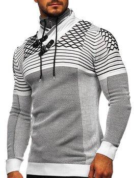 Gruby biały sweter męski ze stójką Denley 1067