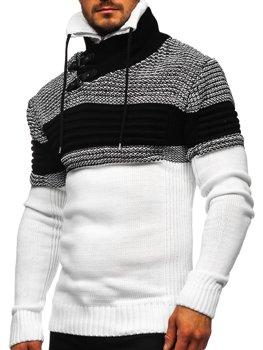 Gruby biały sweter męski ze stójką Denley 2002