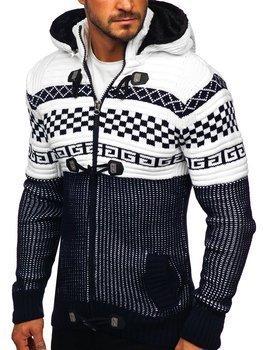 Gruby granatowy rozpinany sweter męski z kapturem kurtka Denley 2061
