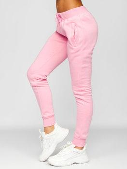 Jasnoróżowe spodnie dresowe damskie Denley CK-01
