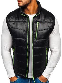 Kamizelka męska pikowana czarno-zielona Denley K002-A