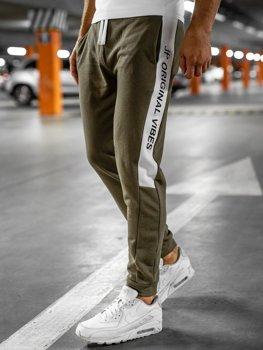 Khaki dresowe spodnie męskie Denley N1216
