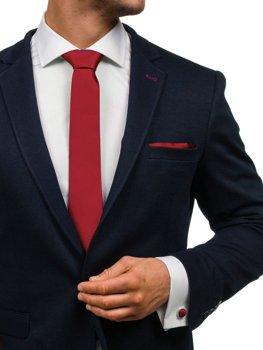 Komplet męski krawat, spinki, poszetka bordowy Denley KSP01