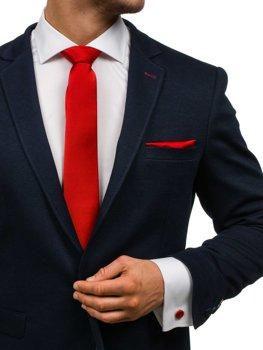 Komplet męski krawat, spinki, poszetka ciemnoczerwony Denley KSP01