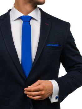 Komplet męski krawat, spinki, poszetka jasnogranatowy Denley KSP01
