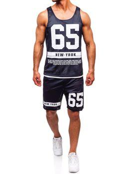 Komplet męski t-shirt + spodenki Denley granatowy 100777