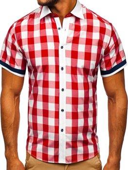 200863625806 Koszula męska elegancka w kratę z krótkim rękawem czerwona Bolf 8901